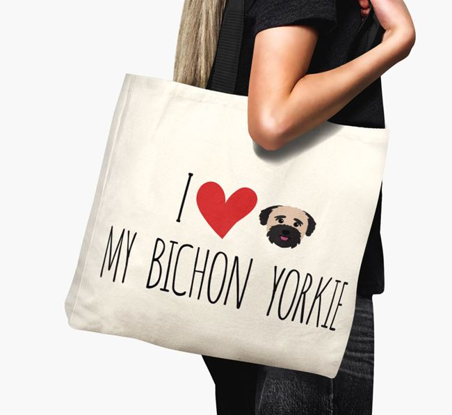 'I love my Bichon Yorkie' Canvas Bag