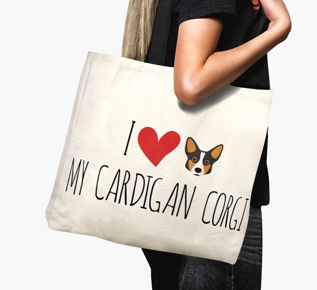 'I love my Cardigan Corgi' Canvas Bag