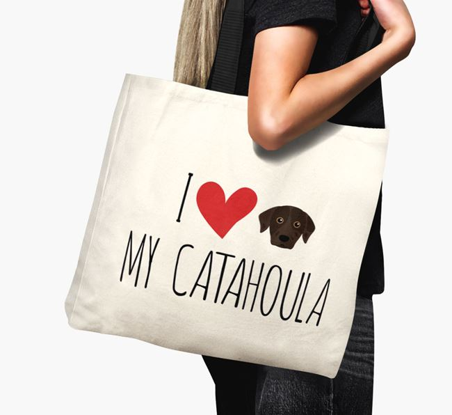 'I love my Catahoula' Canvas Bag