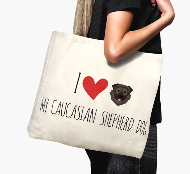 'I love my Caucasian Shepherd Dog' Canvas Bag