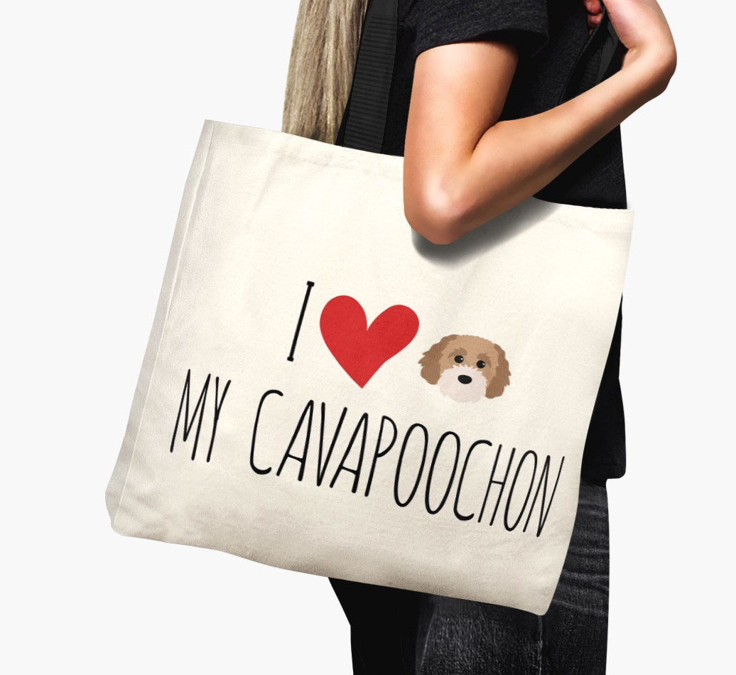 Woman holding {colour} 'I love my Cavapoochon' Canvas Bag