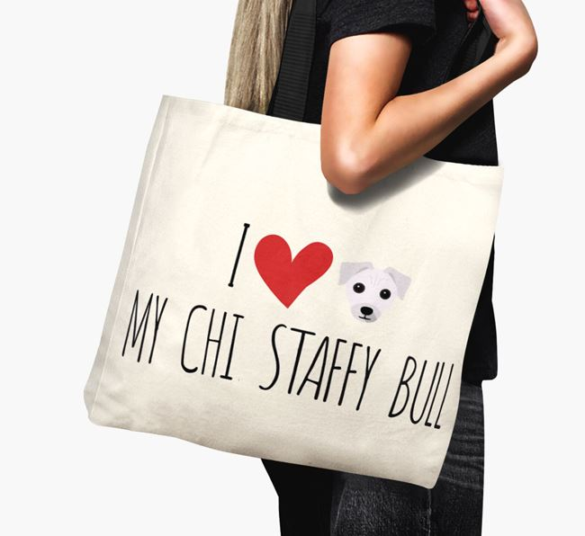 'I love my Chi Staffy Bull' Canvas Bag