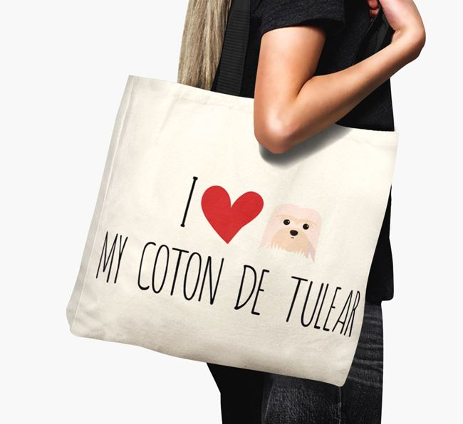 'I love my Coton De Tulear' Canvas Bag
