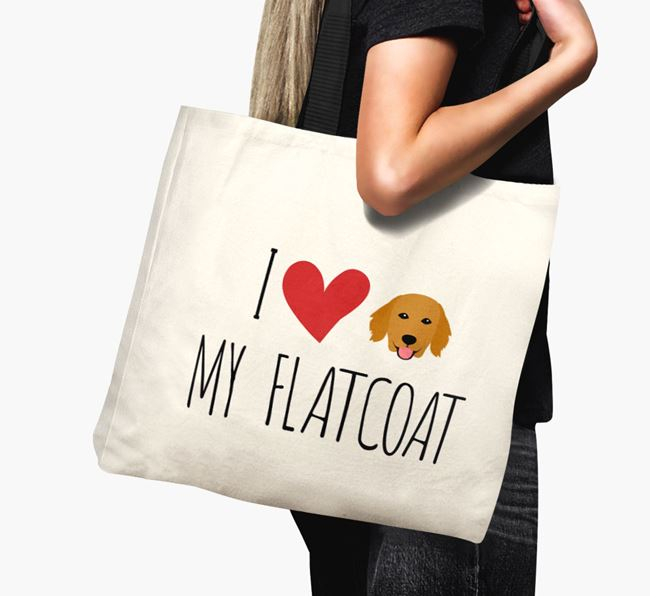 'I love my Flatcoat' Canvas Bag