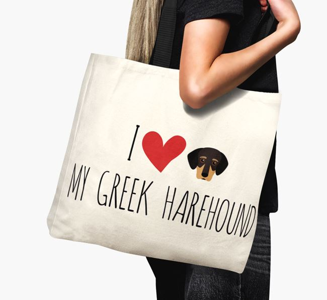 'I love my Greek Harehound' Canvas Bag