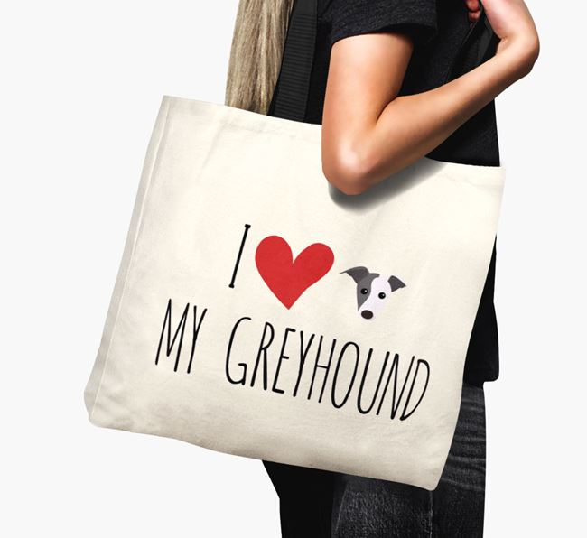 'I love my Greyhound' Canvas Bag