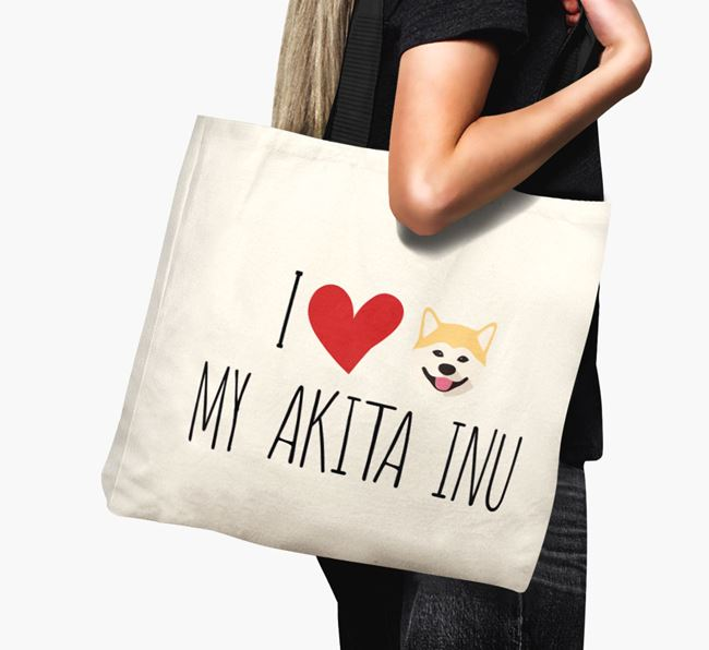 'I love my Akita Inu' Canvas Bag
