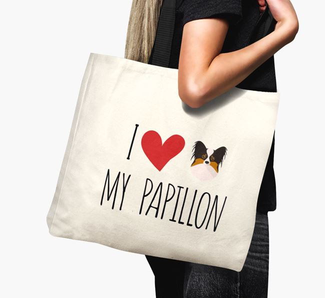 'I love my Papillon' Canvas Bag