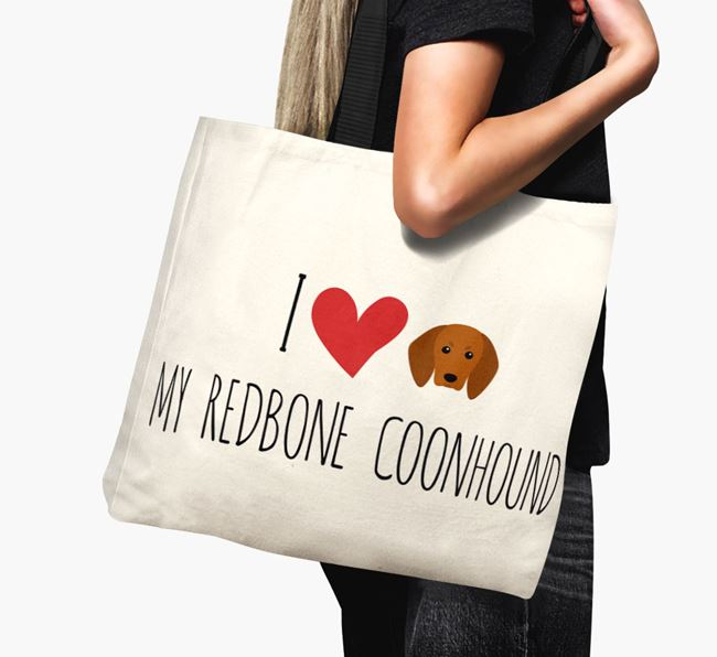 'I love my Redbone Coonhound' Canvas Bag