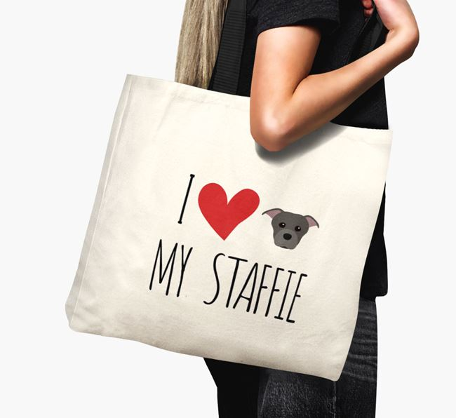 'I love my Staffie' Canvas Bag