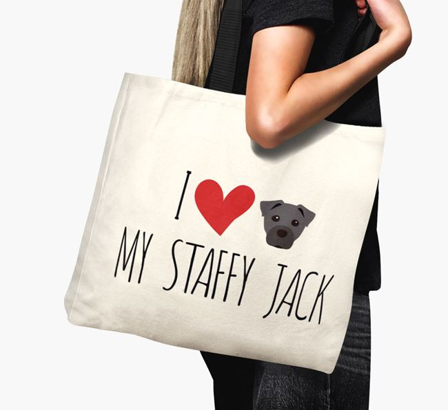 'I love my Staffy Jack' Canvas Bag