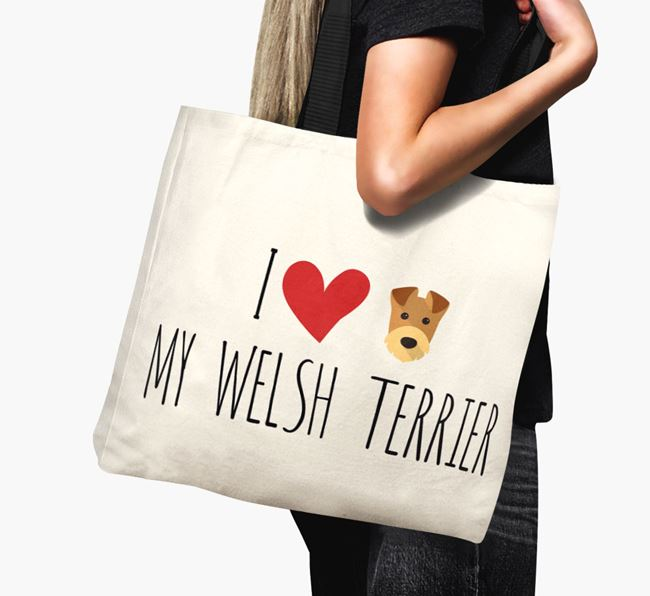 'I love my Welsh Terrier' Canvas Bag