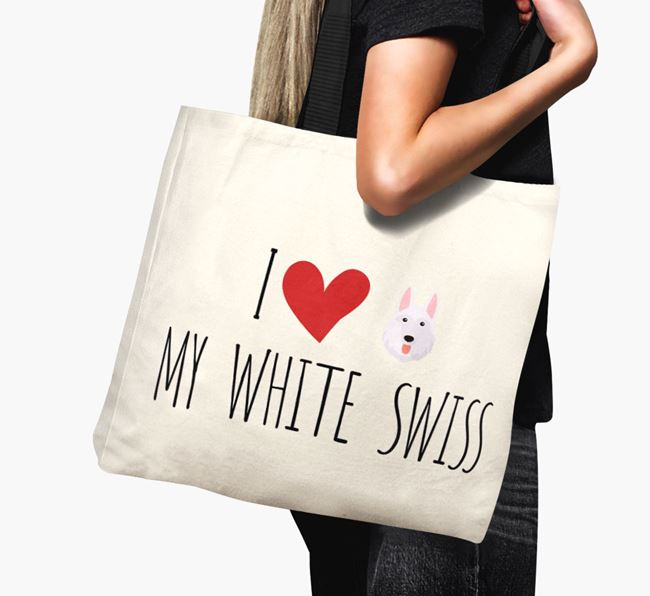 'I love my White Swiss' Canvas Bag