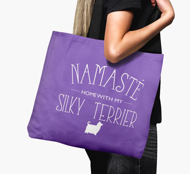 'Namaste home with my Silky Terrier' Canvas Bag with Australian Silky Terrier Silhouette