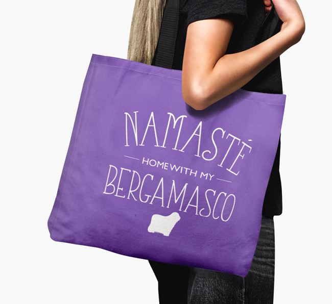 'Namaste home with my Bergamasco' Canvas Bag with Bergamasco Silhouette