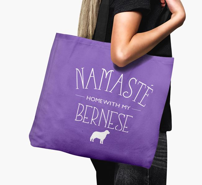 'Namaste home with my Bernese' Canvas Bag with Bernese Mountain Dog Silhouette