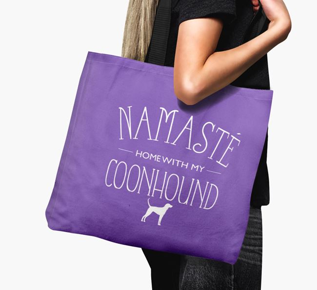 'Namaste home with my Coonhound' Canvas Bag with Black and Tan Coonhound Silhouette