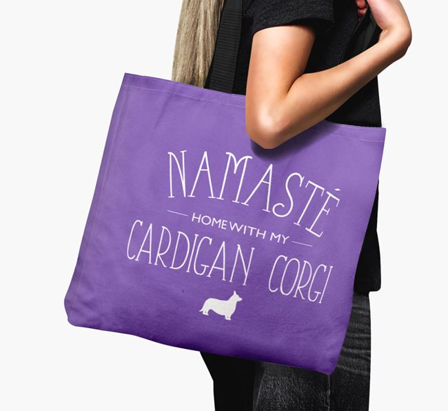 'Namaste home with my Cardigan Corgi' Canvas Bag with Cardigan Welsh Corgi Silhouette