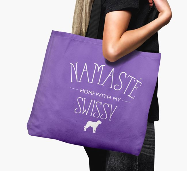 'Namaste home with my Swissy' Canvas Bag with Greater Swiss Mountain Dog Silhouette