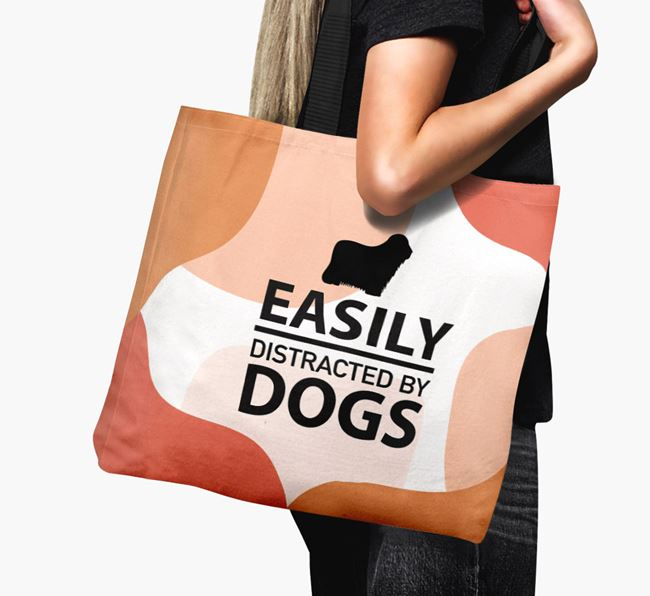 Canvas Bag 'Easily Distracted By Dogs' with Bergamasco Silhouette