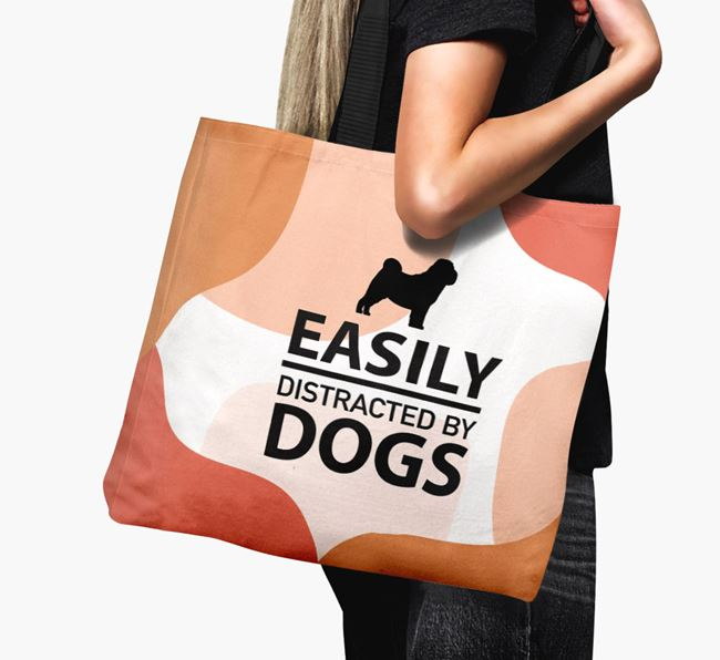 Canvas Bag 'Easily Distracted By Dogs' with Shar Pei Silhouette