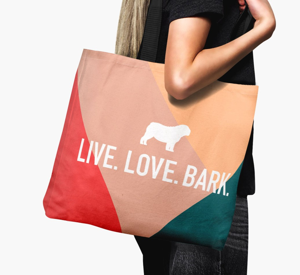 Woman holding {colour} 'Live. Love. Bark.' Canvas Bag with Bull Pei Silhouette