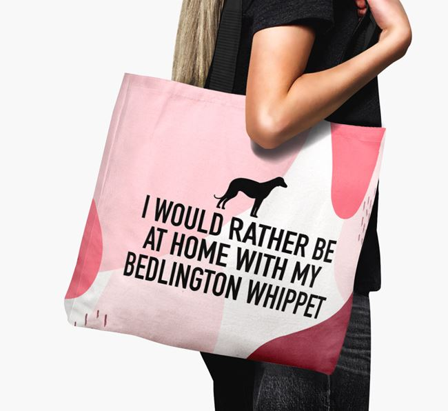 'I'd Rather Be At Home With My Bedlington Whippet' Canvas Bag with Bedlington Whippet Silhouette