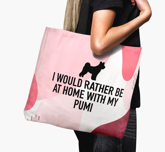 'I'd Rather Be At Home With My Pumi' Canvas Bag with Hungarian Pumi Silhouette