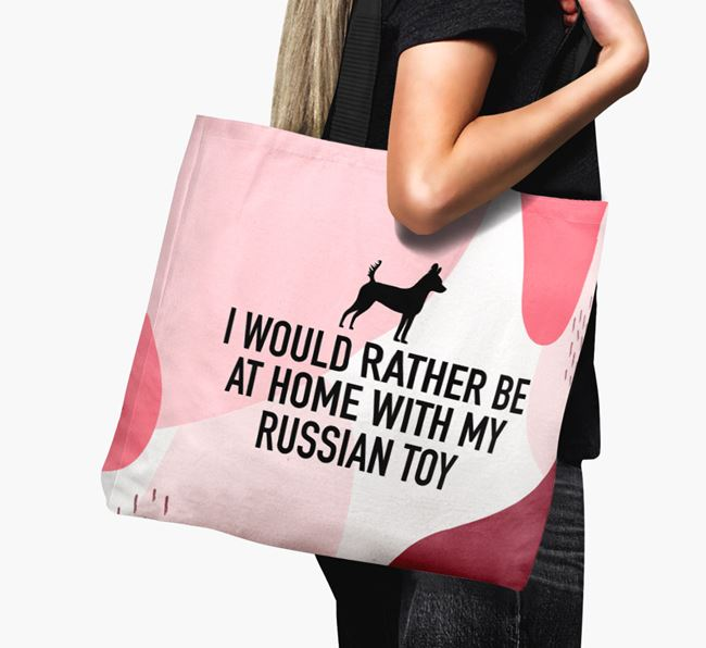 'I'd Rather Be At Home With My Russian Toy' Canvas Bag with Russian Toy Silhouette
