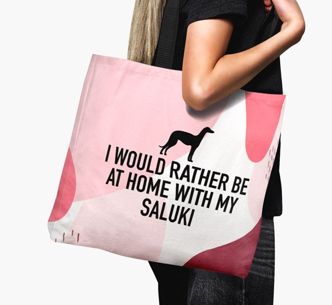 'I'd Rather Be At Home With My Saluki' Canvas Bag with Saluki Silhouette