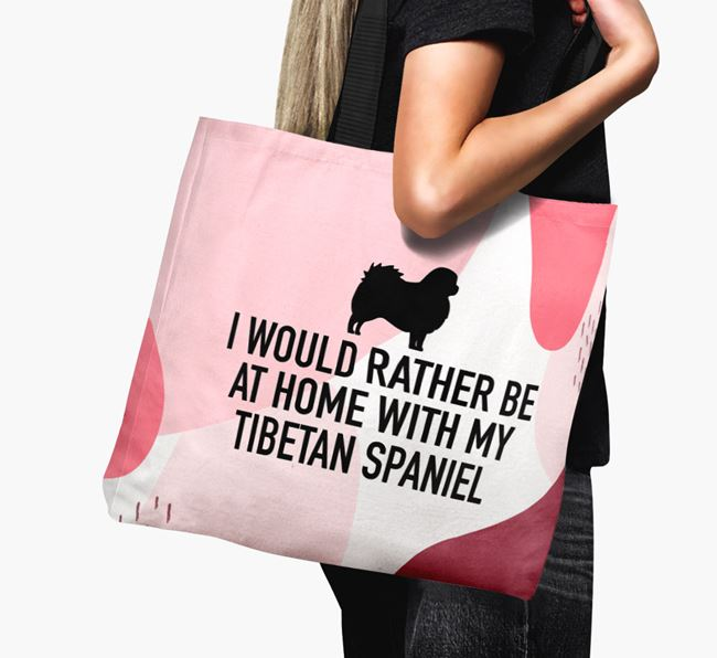 'I'd Rather Be At Home With My Tibetan Spaniel' Canvas Bag with Tibetan Spaniel Silhouette
