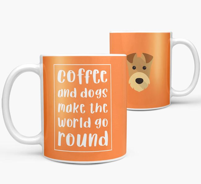 'Coffee and Dogs' Mug with Airedale Terrier Icon
