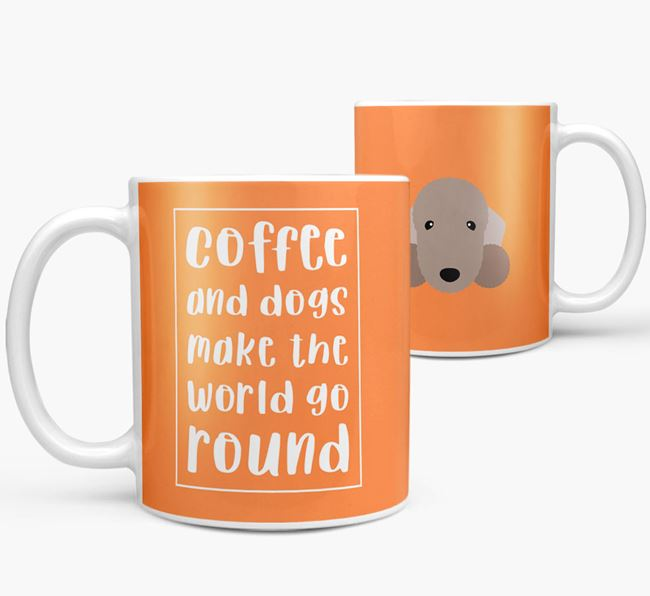 'Coffee and Dogs' Mug with Bedlington Terrier Icon