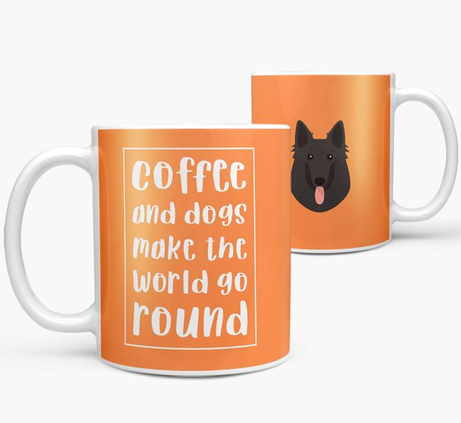 'Coffee and Dogs' Mug with Belgian Groenendael Icon