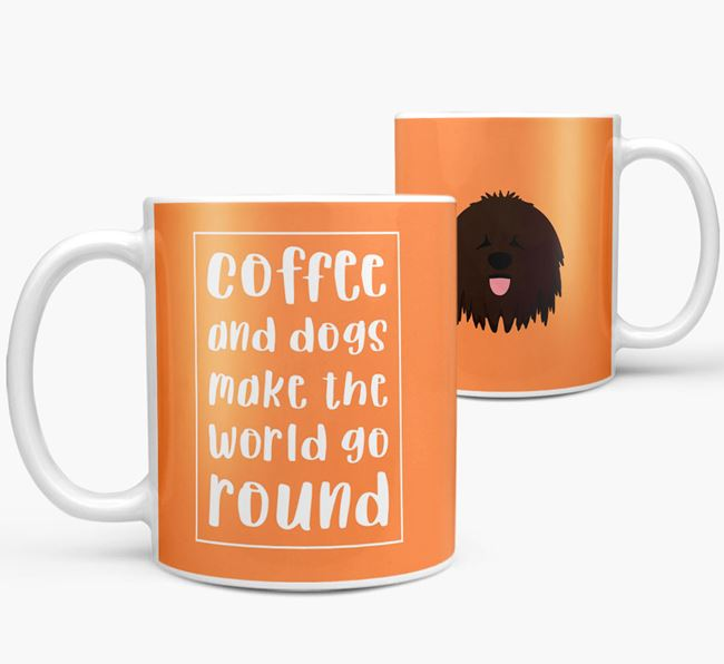 'Coffee and Dogs' Mug with Bergamasco Icon