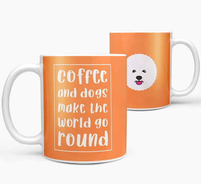 'Coffee and Dogs' Mug with Bichon Frise Icon