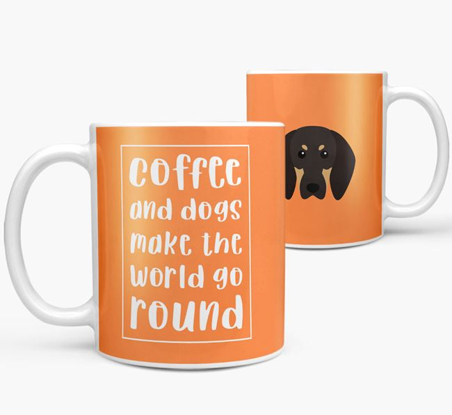 'Coffee and Dogs' Mug with Black and Tan Coonhound Icon