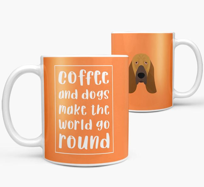 'Coffee and Dogs' Mug with Bloodhound Icon