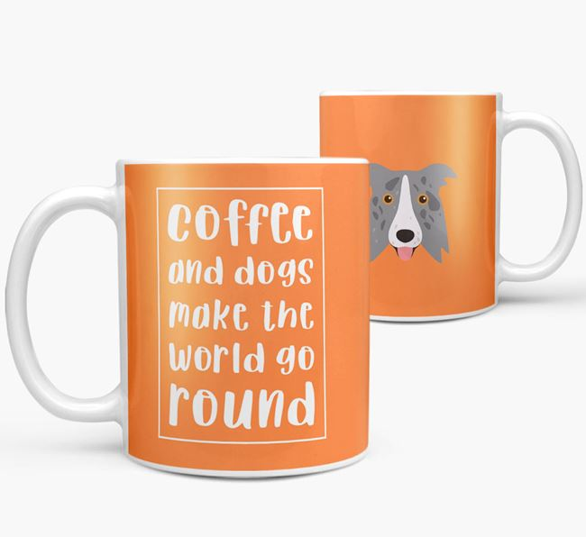 'Coffee and Dogs' Mug with Border Collie Icon