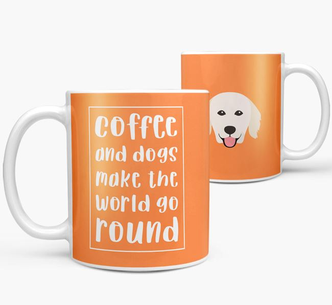 'Coffee and Dogs' Mug with Hungarian Kuvasz Icon