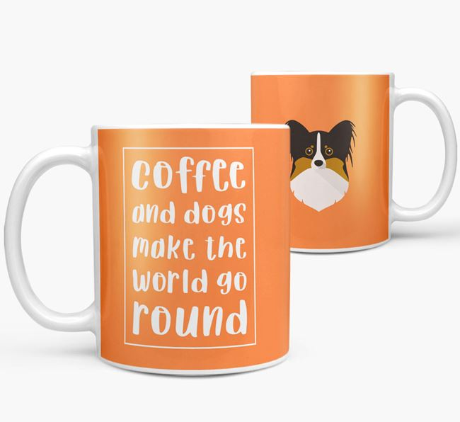 'Coffee and Dogs' Mug with Papillon Icon