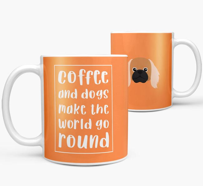 'Coffee and Dogs' Mug with Pekingese Icon