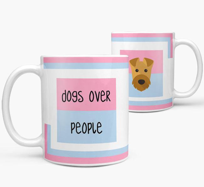 'Dogs Over People' Mug with Airedale Terrier Icon