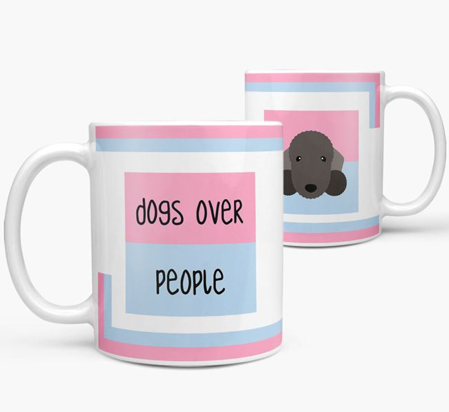 'Dogs Over People' Mug with Bedlington Terrier Icon