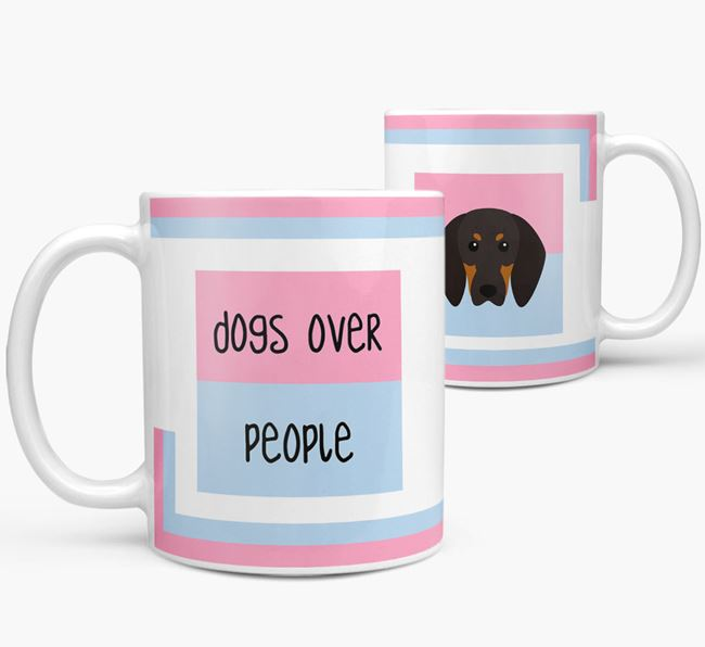 'Dogs Over People' Mug with Black and Tan Coonhound Icon