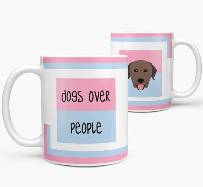'Dogs Over People' Mug with Curly Coated Retriever Icon