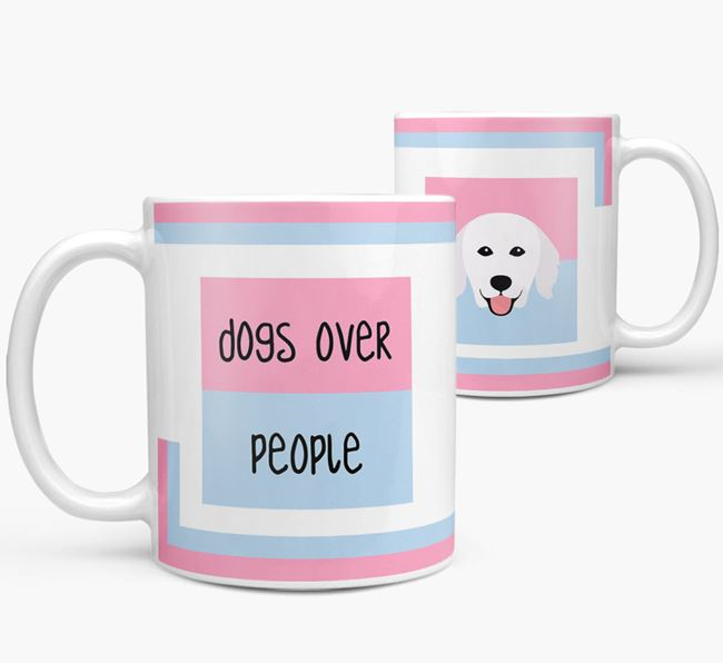 'Dogs Over People' Mug with Hungarian Kuvasz Icon