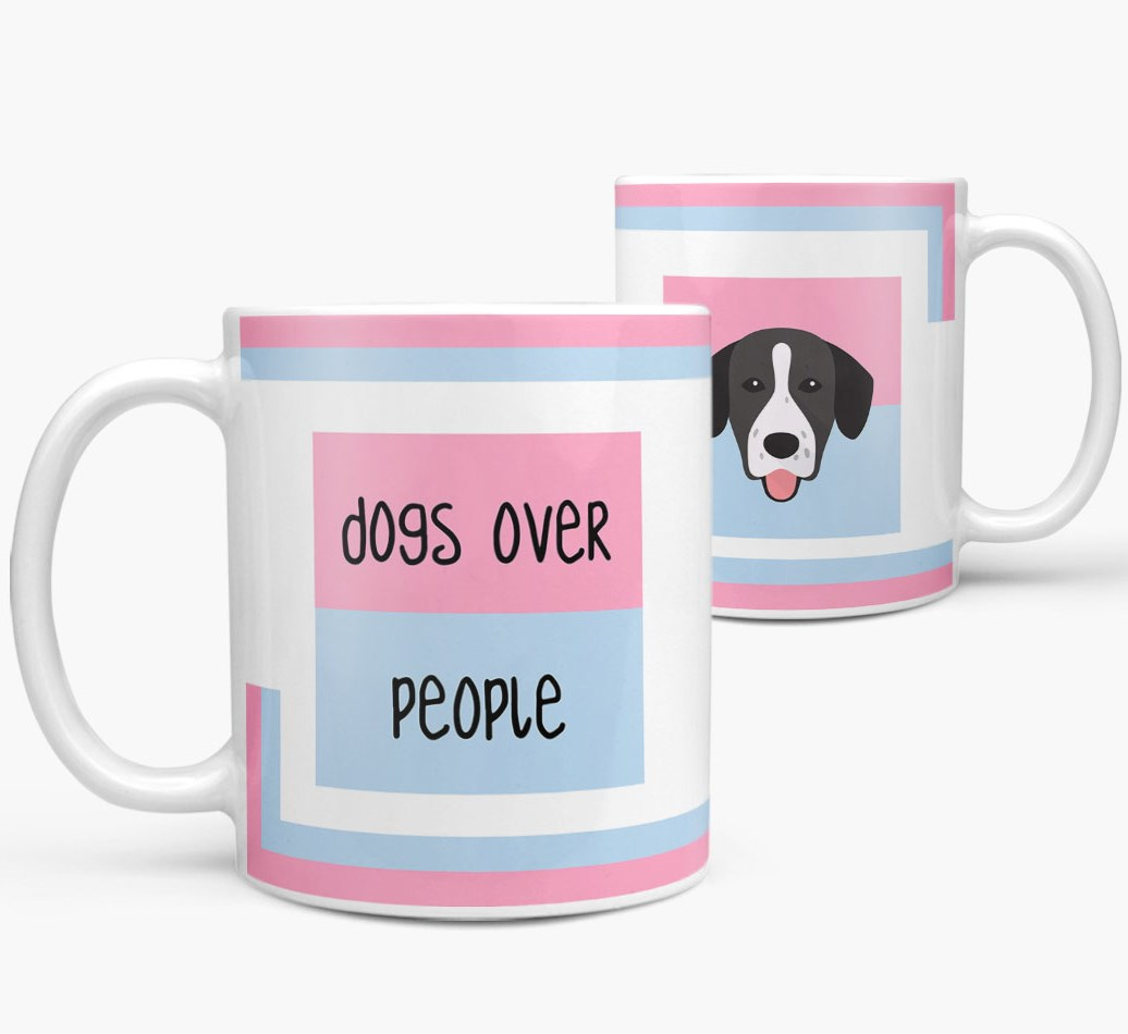 'Dogs Over People' Mug with Springador Icon both views