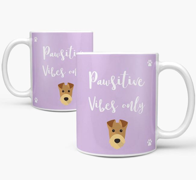 'Paw-sitive Vibes Only' Mug with Airedale Terrier Icon