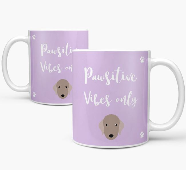 'Paw-sitive Vibes Only' Mug with Bedlington Terrier Icon